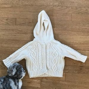 Baby Gap Sweater Hooded Cable Knit Hooded Sweater